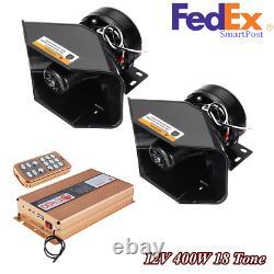 12V 400W 18 Tone Car Warning Alarm Siren Speaker withMIC System & Wireless Remote