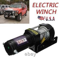 12V 4500LBS Electric Car Winch Wireless Remote Synthetic Cable 4WD For Truck ATV
