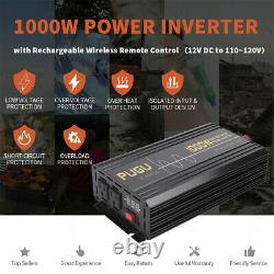 12V DC To 120V AC Power Inverter 1000W 2000W Pure Sine Wave USB Car RV + Remote
