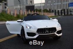 12V Electric Kids RC Ride On Car with Radio & Remote Maserati Quattroporte White
