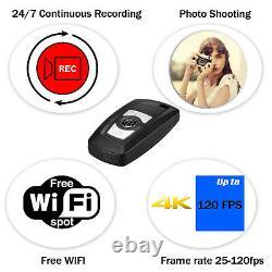 2020 Wireless Wi-Fi (P2P) 4K Car Key Fob Remote Camera Video Recorder 8GB-128GB