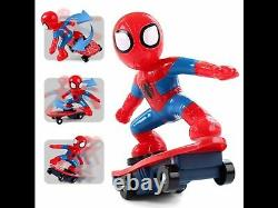2.4ghz Spiderman Stunt Scooter Skateboard Radio Remote Control Car Music & Light