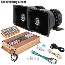 2x 12V 400W 18Tone Car Alarm Police Siren Horn Speaker + MIC Wireless Remote