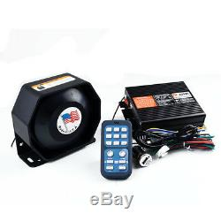 400W 8 Sound Car Warning Alarm Police Fire Siren Horn Loud Speaker System New