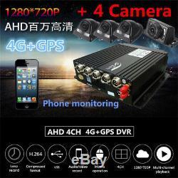 4CH Car DVR AHD 4G Wireless GPS Antenna Realtime Video Recorder Remote4 Cameras