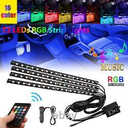 4PCS 72 LED Car Interior Atmosphere Neon Lights Strip Wireless IR Remote Control