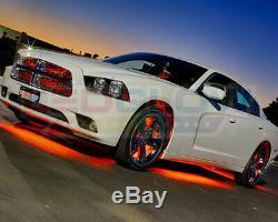 4pc LEDGlow Orange Underglow Car LED Neon Lights Lighting w Wireless Remote