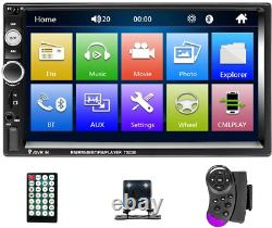 7 Double 2 Din Radio Apple/Android Car Play BT Car Stereo Touch Screen + Camera