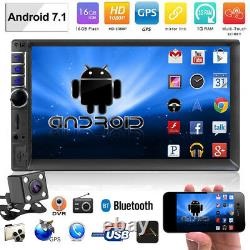 Android 7.1 Bluetooth Car Stereo Radio 2 DIN 7 MP5 Player GPS Wifi FM+Camera