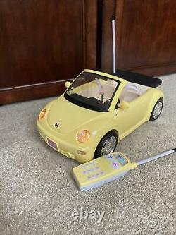 Barbie Yellow Volkswagen Beetle Convertible Radio Shack Remote Control Car Toy