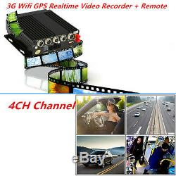 Car 4CH Channel AHD Mobile DVR SD 3G Wireless GPS Realtime Video Recorder+Remote