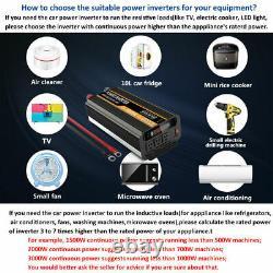 Car Power Inverter 2000W 4000W 12V to 110V 120V Solar Converter &Wireless Remote