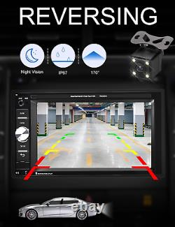 Car Stereo Bluetooth Touch Screen With Remote Backup Reverse Camera SD USB Radio