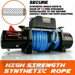 Car Winch 12000lb Synthetic Rope Waterproof IP67 Wireless Handheld Remote