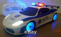 Ferrari Spider Police Car Radio Remote Control Car Led Siren Sound Fast Speed