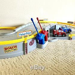 Fisher Price Radio Controlled Raceway Race Track 2 Remote Control Cars SEE VIDEO