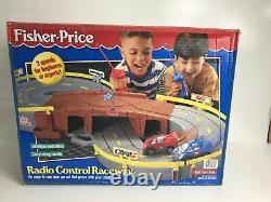 Fisher Price Radio Controlled Raceway Race Track with 2 Remote Control Cars