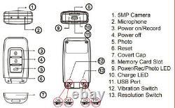 High-End Spy Car Key Camera 32GB Evidence Recorder Remote 5MP Portable