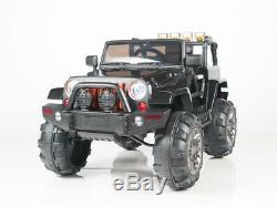 Kids Ride On Car 12v Power Big Wheels R/C Parental Remote Control Black w Radio