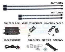 LEDGlow 4pc White Underglow Car Underbody LED Neon Lights Kit w Wireless Remote