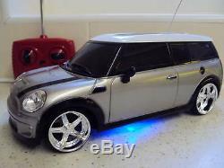 Mini Cooper Sports Radio Remote Control Car Led Lights Silver