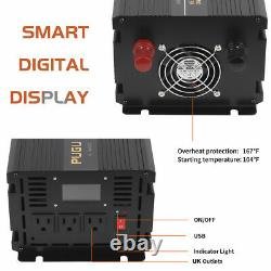 Power Inverter 2000W 4000W 12V DC to 110V 120V AC LCD Cable Car Boat RV withRemote