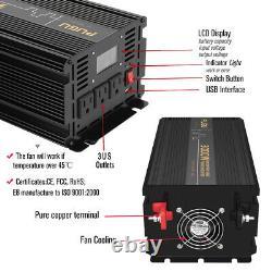 Power Inverter 3000 W 6000 Watt 12V DC to 110V 120V AC LCD Cable Car RV + Remote