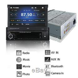 Single 1Din Flip out Car Stereo Radio 7 Touch Screen MP5 Player GPS+Remote+map