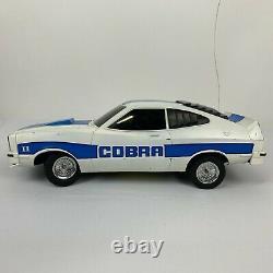 Vintage 1978 LaTrax Mustang II Cobra Radio Controlled White & Blue Remote RC Car