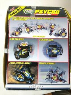 Vintage 90s Tyco R/C TMH Psycho Radio Remote Controlled Race car in package. D7