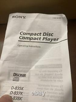 Vintage Sony CD CAR Discman Player D-838K With Wireless Remote AC DC In Box