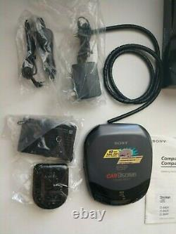 Vintage Sony CD CAR Discman Player D-844K With Wireless Remote AC DC Cable Box