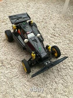 Vintage Tamiya Falcon remote control car running with radio gear and batteries