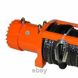 Win-2x 12000LBS Electric Winch Wireless Orange Synthetic Rope ATV UTV Boat 12V