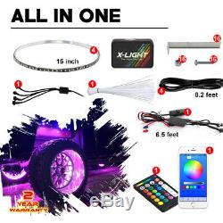 Wireless Remote & App Controlled 4pc 15in Car/Truck Wheel Ring RGB Light Kit