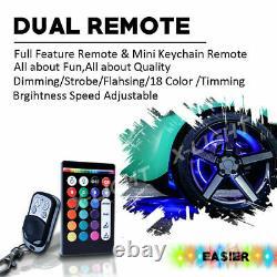Wireless Remote RGB Color Shifting Truck Car LED Wheel Rings Light Kit x4 15